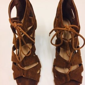 Maurices brown suede strappy wedge sandals